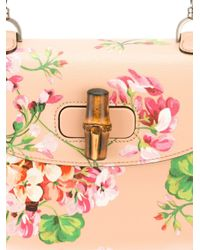 Gucci - Multicolor Bamboo Bag With Blooms Print - Lyst