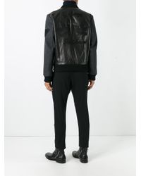 Gucci Black Leather And Wool Bomber for men
