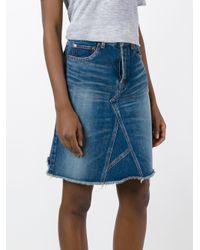Saint Laurent Blue A-line Denim Midi Skirt