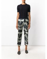 For Restless Sleepers Black Butterfly Print Silk Trousers