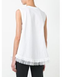 Simone Rocha White Two Knot Sleeveless Frilly T-shirt