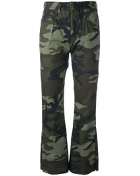 MM6 by Maison Martin Margiela - Green Cropped Camouflage Trousers - Lyst