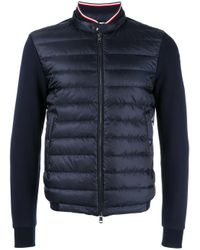 Moncler | Blue Ribbed Zip-up Cardigan for Men | Lyst