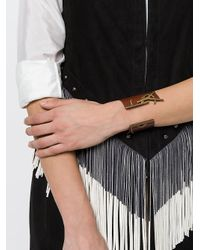 Saint Laurent Brown Opyum Monogram Leather Bracelet
