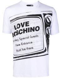 Love Moschino White Printed Cotton T-shirt for men