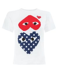 Comme des Garçons White T-shirt With Three Hearts