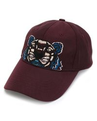 KENZO - Red Icons Tiger Print Cotton Cap for Men - Lyst