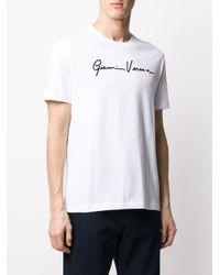 Versace White Gv Signature Logo T-shirt for men