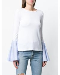 Dondup White Contrast Flared-sleeve Sweater