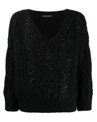Ermanno Scervino Black V-neck Sweater