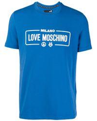 Love Moschino Blue Logo Print Cotton T-shirt for men