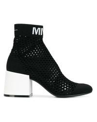 MM6 by Maison Martin Margiela Black Mesh Sock Boots