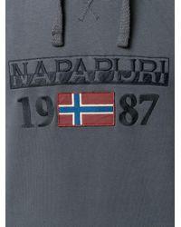 Napapijri - Gray Logo Embroidered Hoody for Men - Lyst