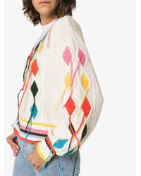 MIRA MIKATI - White Cable Knit Sweater With Hand Embroidery - Lyst