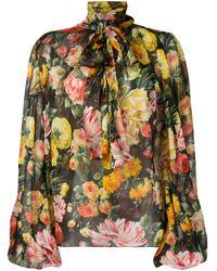 Blusa Stampata In Seta di Dolce & Gabbana in Black