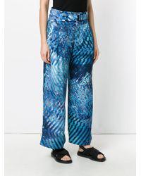 Issey Miyake Blue Printed Wide-leg Trousers