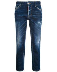 DSquared² Blue Boyfriend Cotton Jeans