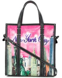 Shopper Bazar XS New York in pelle di Balenciaga in Pink