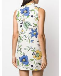 Tory Burch White Floral Print Mini Dress