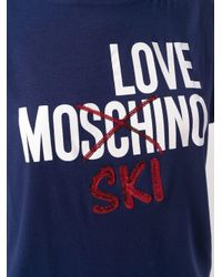 Love Moschino Blue Logo Print Cotton T-shirt