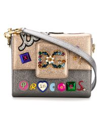 Dolce & Gabbana - Metallic Leather Mini Shoulder Bag With Patch - Lyst