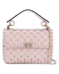 Valentino Pink Rockstud Spike Leather Shoulder Bag