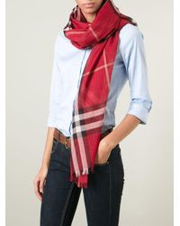 Burberry Red 'house' Check Scarf