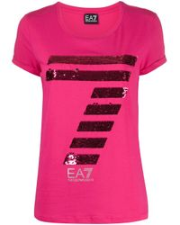 EA7 Purple Cotton T-shirt