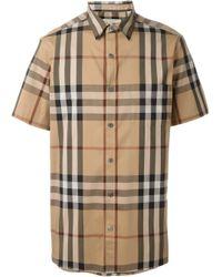 Camicia Nelson Con Motivo Check di Burberry in Natural da Uomo