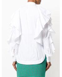 Sara Battaglia White Ruched Long Sleeved Shirt