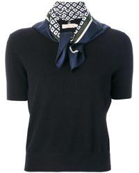 Tory Burch Black Wool Sweater With Printed Silk Foulard