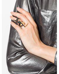 Saint Laurent | Black Yls Logo Rings | Lyst