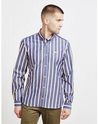 Maison Kitsuné Stripe Long Sleeve Shirt Navy Blue for men