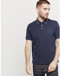 Z Zegna Tipped Short Sleeve Polo Shirt Navy Blue for men