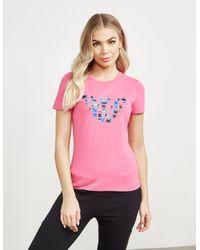 Emporio Armani Pink Colour Eagle Short Sleeve T-shirt