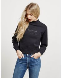 ca58b74377c1 Calvin Klein Womens Hazel Icon Sweatshirt Black in Black - Lyst