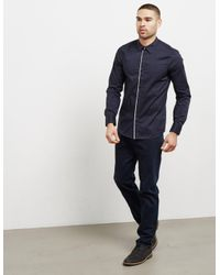 Emporio Armani - Blue Mens Trim Placket Long Sleeve Shirt Navy for Men - Lyst