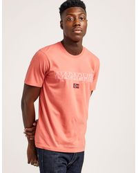 Napapijri - Red Graphic Short Sleeve T-shirt for Men - Lyst