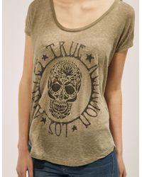 True Religion - Green Loose Skull T-shirt - Lyst
