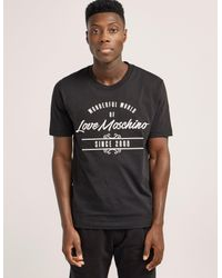 Love Moschino | Black Script Logo Short Sleeve T-shirt for Men | Lyst