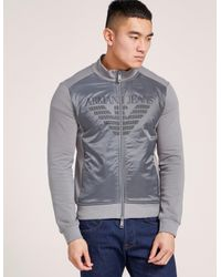 Armani Jeans - Gray Nylon Panel Sweatshirt for Men - Lyst