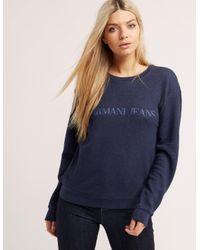 Armani Jeans   Blue Crew Neck Sweater   Lyst