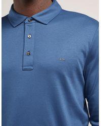 Michael Kors - Mens Sleek Long Sleeve Polo Shirt Blue for Men - Lyst