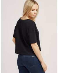 Calvin Klein | Black Cropped Logo Short Sleeve T-shirt | Lyst