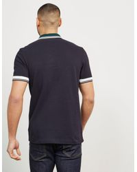 Fred Perry - Mens Ribbed Trim Short Sleeve Polo Shirt Blue for Men - Lyst
