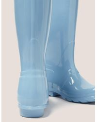 Hunter - Blue Tall Gloss Boot - Lyst