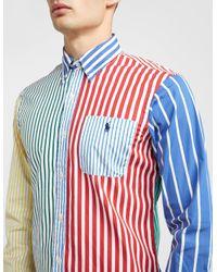 Polo Ralph Lauren Blue Colour Block Long Sleeve Stripe Shirt Multi for men