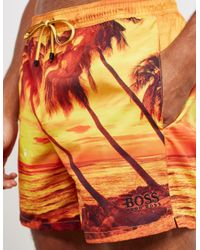 BOSS - Orange Springfish Palm Swim Shorts for Men - Lyst