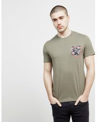 Replay Floral Pocket Short Sleeve T-shirt Green for men
