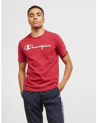 b0be4c406222 Champion Mens Large Logo Short Sleeve T-shirt Red in Red for Men - Lyst